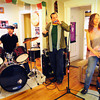 Newburyport: Liz Frame and the Kickers in rehearsal, Charlie Farr, Jason Novak and Lynne Taylor. Bryan Eaton/Staff Photo