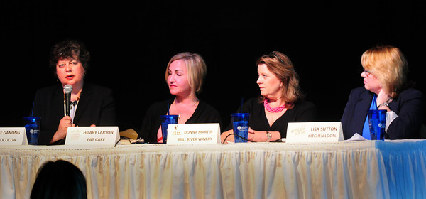 Salisbury: Four local female entrepreneurs shared their stories of how they left the corporate world to pursue their dream jobs at the Women's Leadership Luncheon at the Blue Ocean Music Center and hosted by Janice Morse, president and CEO of the Newburyport Five Cents Savings Bank. From left, Julie Ganong of Chococoa; Hilary Larson of Eat Cake; Donna Martin of Mill River Winery and Lisa Sutton of Kitchen Local. Bryan Eaton/Staff Photo