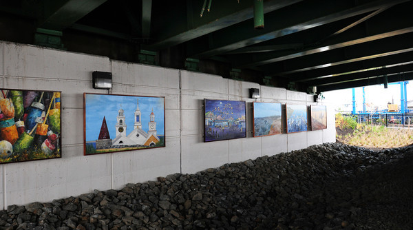 Salisbury: Murals are now hung under the north side of the Gillis Bridge along the rail trail route. Bryan Eaton/Staff Photo