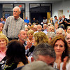 Salisbury: Ron Ray who was moderator at Salisbury town meetings for 30 years, stepping down last year, was applauded for his service at Monday's meeting. Bryan Eaton/Staff Photo