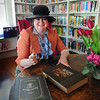 Newburyport: Suzanne DeWitt dresses up like Emma Andrews might have, and will play the part of the founder of the Emma Andrews Branch Library for Preservation Week. Bryan Eaton/Staff Photo
