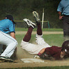 Byfield: Newburyport's Chance Carpenter makes it safely to third past Triton's Billy Mical. Bryan Eaton/Staff Photo