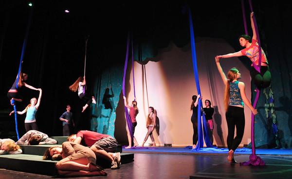 "Newburyport: The cast of a ""MId-Summer Night's Dream"" rehearse at Newburyport High School. Bryan Eaton/Staff Photo"