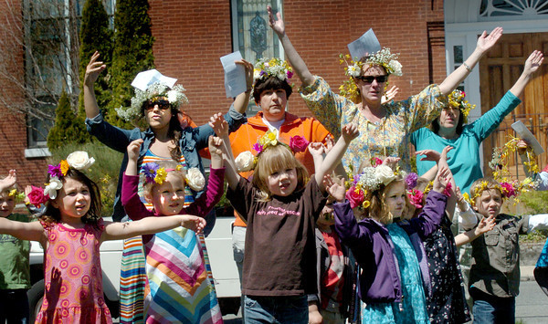Newburyport: Youngsters from the Newburyport and Inn Street Montessori Schools celebrated May Day with their teachers and parents late Wednesday morning. This year they had their sing-a-long at Brown Square instead of Waterfront Park. Bryan Eaton/Staff Photo