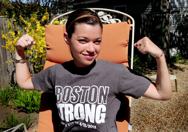 Amesbury: Remy Lawler, who was injured in the Boston Marathon bombing, said she'll be back at the race next year cheering runners on. Bryan Eaton/Staff Photo