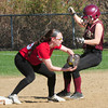 BRYAN EATON/ Staff Photo. Amesbury's Lauren Fedorchak tags out Newburyport's Lauren Singer at second base.