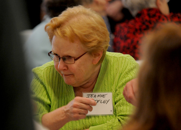 JIM VAIKNORA/Staff photo jeanne Deffley makes a point at a public charrette at the Central Congregational Church in Newburyport Saturday morning.