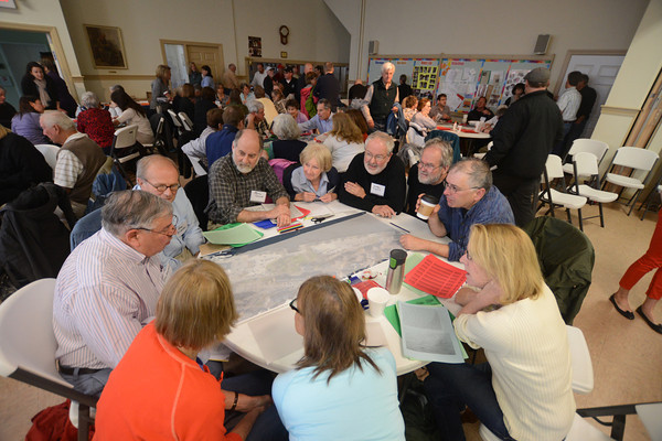 JIM VAIKNORAS/Staff photo Over 120 people to participated in a public charrette to discuss plans on the Newburyport Waterfront at the Central Congregational Church in Newburyport Saturday morning.