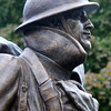JIM VAIKNORAS/Staff photo Detail of the Doughboy at it's Re-Dedication at Amesbury Middle School Sunday.