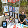 JIM VAIKNORAS/Staff photo Salisbury artist Alex Aro with his Surreal Zoo creatures at the 2nd annual Salisbury Art Stroll on the Rail Trail Saturday .