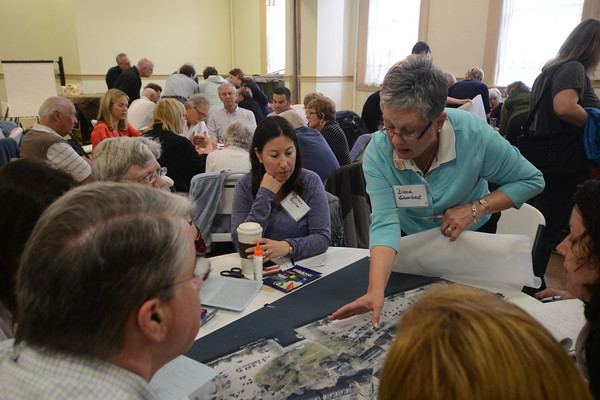 JIM VAIKNORAS/Staff photo  Diane Gronbeck was one of over 120 people to participate in a public charrette at the Central Congregational Church in Newburyport Saturday morning.
