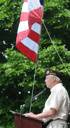 JIM VAIKNORAS/Staff photo Veteran's agent Kevin Hunt speaks at City Hall at the annual Newburyport Memorial Day service.