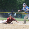 JIM VAIKNORAS/Staff photo The ball gets away from Georgetown's Colby Ingraham as Newburyport's Scott Webster slides safely back to second during their championship game against Georgetown in the annual Bert Spofford Baseball Tournament at Georgetown Sunday. The Clippers won the game 8-5.