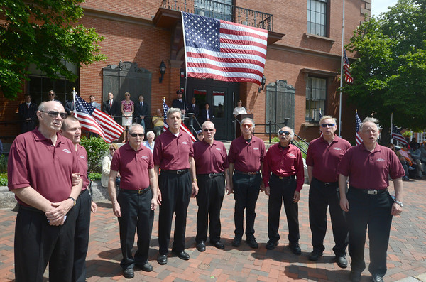 JIM VAIKNORAS/Staff photo The Merrimac Valley Townsmen perform  at City Hall at the annual Newburyport Memorial Day service.