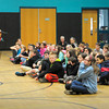 BRYAN EATON/ Staff Photo. In honor of National Poetry Month the Mayhem Poets came to Pentucket Regional Schools on Tuesday. One of the members of the troupe perform here at the Donaghue School in Merrimac.