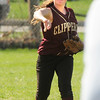BRYAN EATON/ Staff Photo. Meghan Stanton throws to second on a single by an Ipswich player.