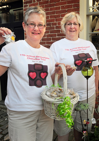 BRYAN EATON/ Staff Photo. Diane Gronbeck, left, and Debbie Aldrich kick off Newburyport's Chocolate Tour.