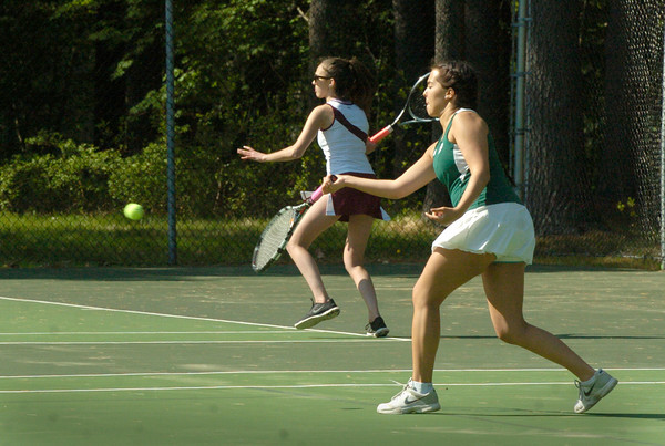 BRYAN EATON/ Staff Photo. Newburyport's Eliza Filipancic, left, and Pentucket's Rachel Darke.