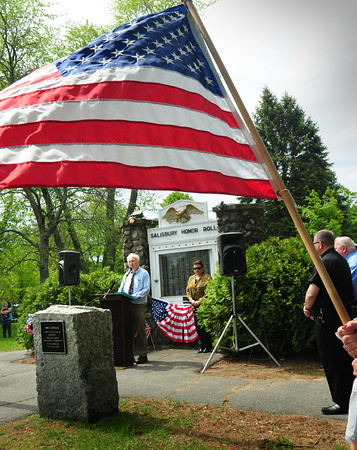 BRYAN EATON/ Staff Photo. Former Salisbury selectman Fred Knowles welcomes citizen's to the town's Memorial Day Observance on the town common.