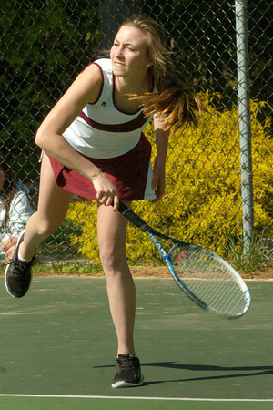 BRYAN EATON/ Staff Photo. Newburyport's Michaela Corvi in first singles.