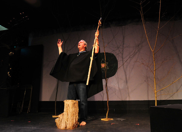 "BRYAN EATON/ Staff Photo. Marc Clopton in rehearsal for his one-man show ""Grandfather Speaks."""