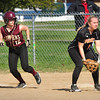 BRYAN EATON/ Staff Photo. Newburyport's Lauren Singer leads to steal but takes second on a hit by Meghan Stanton.