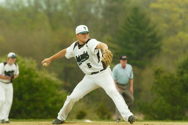 BRYAN EATON/ Staff Photo. Pentucket pitcher Ryan Kuchar winds up.