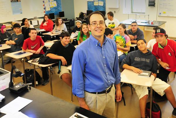 BRYAN EATON/ Staff Photo. Amesbury High School chemistry teacher Mark Casto was named Rotary Educator of the Year.