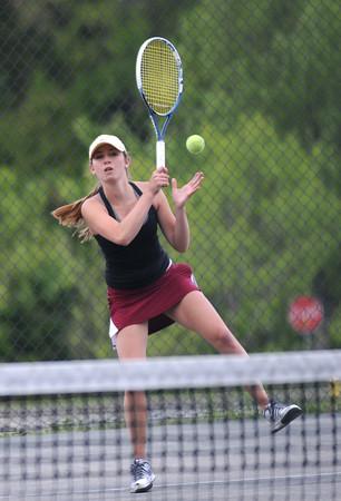 JIM VAIKNORAS/Staff photo Newburyport's 1st singles player Michaela Corvi during her match against Abby Sartori at Amesbury  Friday.