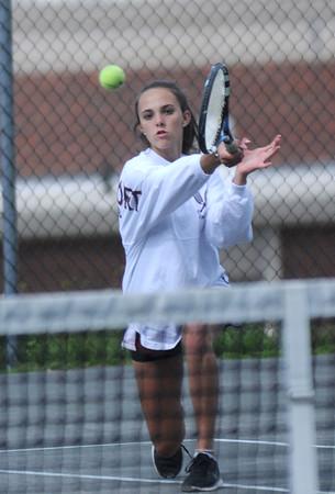 JIM VAIKNORAS/Staff photo Newburyport's 1st doubles player Caroline Marino in her match against at Amesbury.