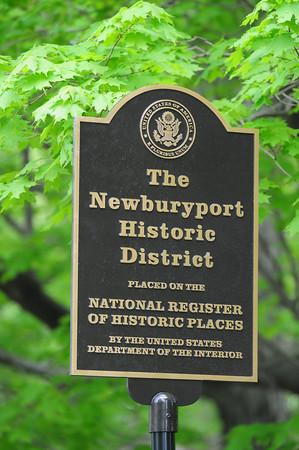 BRYAN EATON/Staff Photo. The sign marking The Newburyport Historic District.