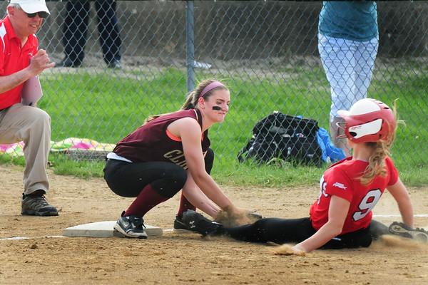 BRYAN EATON/Staff Photo. Newburyport third baseman Jade Carpenter slaps the tag on Amesbury's Hannah Breindenbach.