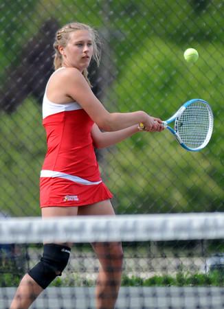 JIM VAIKNORAS/Staff photo Amesbury's 1st singles player Abby Sartori during her match against Newburyport's Michaela Corvi at Amesbury  Friday.