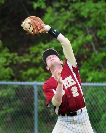 BRYAN EATON/Staff Photo. Newburyport first baseman Jake Barlow catches a Triton popfly.