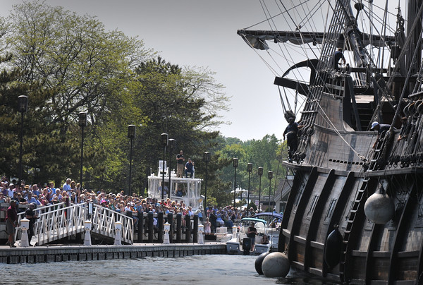 BRYAN EATON/Staff Photo. Throngs lined the boardwalk at Newburyport's Waterfront to watch the arrival of El Galeon.