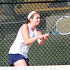 JIM VAIKNORAS/Staff photo Triton's Cassie McGrath in her first single match against Hamilton-Wenham at Triton friday.