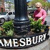 BRYAN EATON/Staff Photo. Lisa Ridabock puts in plants at the rotary in Amesbury's Market Square commenting it's about time spring arrived. She works for Greenery Designs which donate seasonal plantings in the downtown four times a year.
