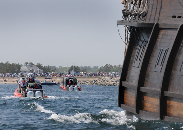 BRYAN EATON/Staff Photo. The El Galeon was escorted past viewers at Salisbury Beach State Reservation by the Salisbury and Newburyport harbormaster crews.
