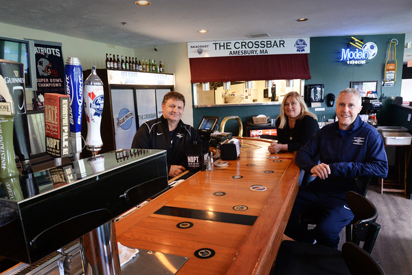 BRYAN EATON/Staff Photo. The Crossbar at Amesbury Sports Park is opening on Saturday. From left, manager Frank Annaldo; events manager Michele Annaldo and owner Ian Burgess.
