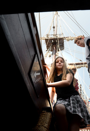 BRYAN EATON/Staff Photo. Amesbury Elementary School student Kayleigh Bears, 7, makes her way down to a lower deck on El Galeon.