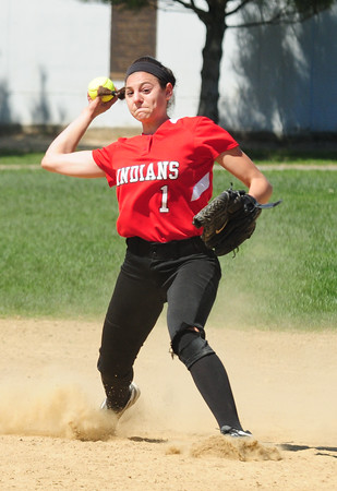 JIM VAIKNORAS/Staff photo Amesbury's Maddie Napoli throws out a runner during the Indian's game against Concord Carlise at Amesbury.