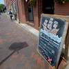 JIM VAIKNORAS/Staff photo Sign welcoming sailors from El Galeon at Buttermilk Bakery on Liberty Street in Newburyport.