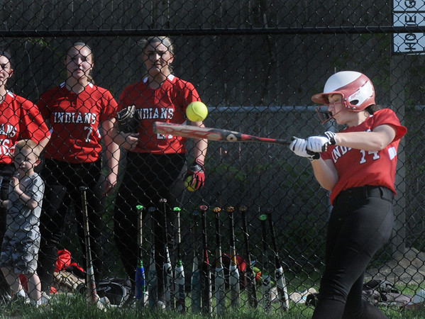BRYAN EATON/Staff Photo. Amesbury's Emily Robinson bats a single.