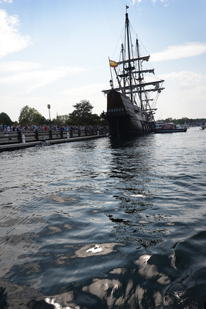 BRYAN EATON/Staff Photo. The El Galeon arrives at the Newburyport Waterfront.