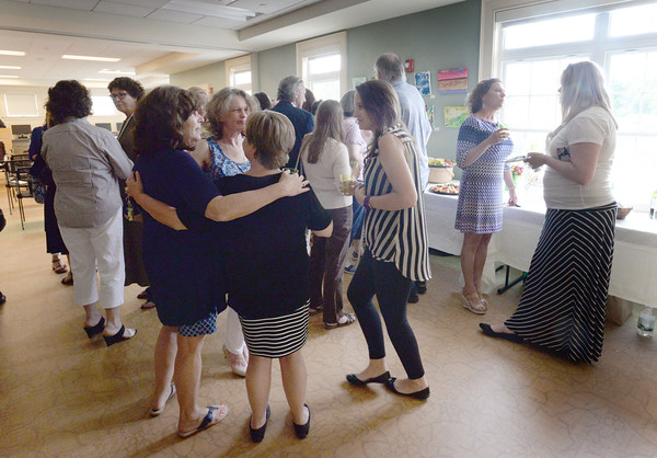 BRYAN EATON/Staff Photo. A reception was held at the Newburyport Council On Aging building for 18 Newburyport educators who received Certificates of the Impact of Trauma on Learning from Lesley University Center.
