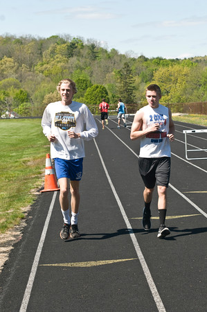 JIM VAIKNORAS/Staff photo Amesbury Track stars Cole Legg and Brian Chabot at the track in Amesbury.