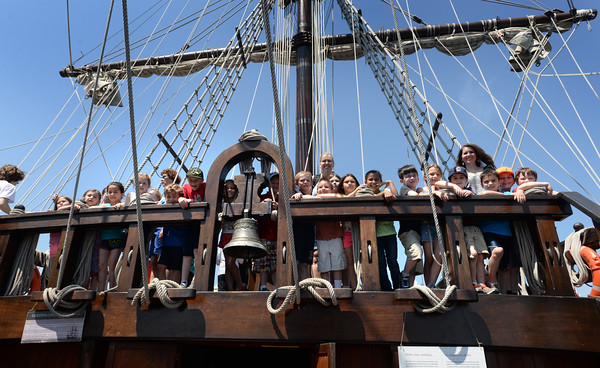 BRYAN EATON/Staff Photo. Students in Pauline Fitzgeralds class at Amesbury Elementary School check out the forecastle deck on El Galeon.