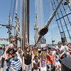 BRYAN EATON/Staff Photo. Susan Kimball and her class from Amesbury Elementary School pose for a photo on the forecastle deck.