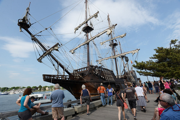BRYAN EATON/Staff Photo. The El Galeon will be at the Newburyport Waterfront until Monday.