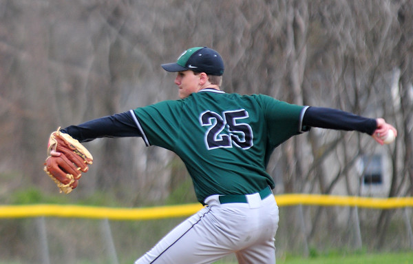 JIM VAIKNORAS/Staff photo Pentucket's Jim Cleary pitches at Amesbury Tuesday.
